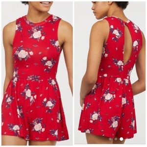 "NWT H&M Red floral ""playsuit"" or jumper"